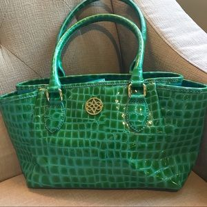 Antonio Melani crocodile alligator purse bag green